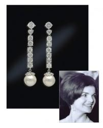 """Jacqueline """"Jackie"""" Kennedy Collection - Pearl Drop Earrings. A gift from JFK in 1958 the original pair were set in gold. Jackie liked them so much she had another set made In platinum."""