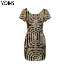 YOINS Roupas Femininas Women Backless Bodycon Sequin Mini Dress Party Slim Tight Cocktail Clubwear Sheath Vestidos Femininos