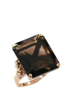 e91ecf1cee 14K Yellow gold Retro Emerald Cut smoky Quartz Ring Anillos, Joyas, Corte  De Esmeralda