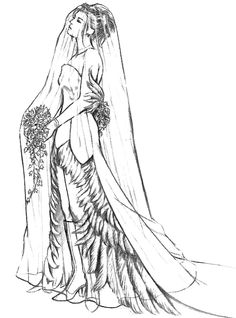 Week 10 - Final Fantasy X - Concept Art Mon - Yuna Wedding Dress Final Sketch