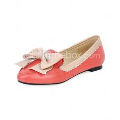 [USD $ 29.99] Leatherette Flat Heel Loafers & Slip-ons With Bowknot Party / Evening Shoes (More Colors)