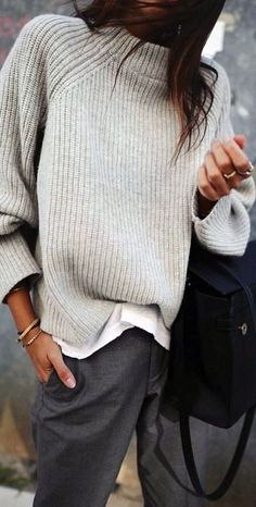 Shirt layered with knit