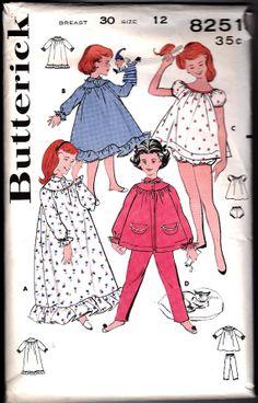 1950's Vintage Girls Nightgown Baby Doll Sewing by OldMavisVintage, $5.00