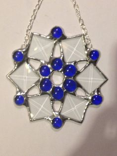 Crystal Blue Snowflake by PrismStainedGlass on Etsy, $18.00