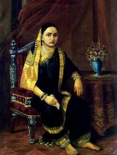 Oil on Canvas Painting by Raja Ravi Varma: Maharani Chimanbai Ravivarma Paintings, Indian Paintings, Vintage India, Duleep Singh, Raja Ravi Varma, Contexto Social, Saree Painting, Mother India, Royal Indian