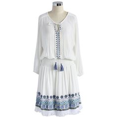 Chicwish Boho In A Bead Tasseled Dress (78 CAD) ❤ liked on Polyvore featuring dresses, white, white bohemian dress, embroidered dress, bohemian dress, white cut out dress and white cutout dress