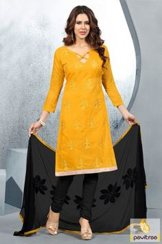 Fashionable yet stylish look this yellow and black color cotton embroidery salwar suit online shopping at lowest price. Purchase this chiffon casual dress with discount offer. #salwarkameez, #cottonsalwarkameez, #casualsalwarlameez, #printedsalwarkameez, #indiansalwarkameez,   #churidarsalwarkameez, #discountoffer, #pavitraafashion, #utsavfashion, #embroiderysalwarsuit, #chiffonsalwarsuit, #georgettesalwarsuit http://www.pavitraa.in/store/casual-dress/ callus:+91-7698234040