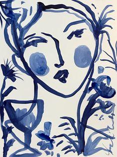 Flowers and Wine in Indigo VII original portrait painting face girl whimsical indigo illustration Artist Inspiration, Illustration, Drawings, Painting, Everyday Art, Art, Portrait Painting, Mom Art, Beautiful Art