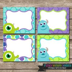 Diy INSTANT DOWNLOAD Monster Inc Inspired Birthday Party Digital PRINTABLE Fold Over Food Labels on Etsy, $2.00