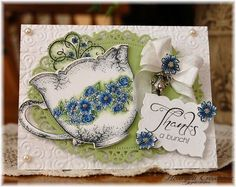 Sweet Teacup Card...with lacy doily...  by Kathleen Roney (White & Blue China Tea Cup: Heartfelt Creations).