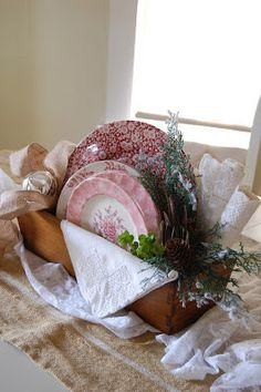 Wooden box with vintage china for centerpiece GREAT FOR TEA PARTY w tiny cake displays on tabel for them to choose from