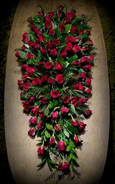 Gorgeous red rose funeral casket spray Church Flowers, Funeral Flowers, Wedding Flowers, Large Flower Arrangements, Funeral Flower Arrangements, Grave Decorations, Flower Decorations, Casket Flowers, Funeral Caskets