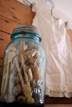 Laundry room decor – go crystal! I know you like Mason Jars… maybe one for poc… - laundry room