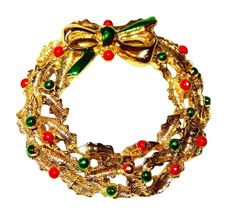 Vintage Gold-tone Wreath with Red and Green Enamel Highlights by BeccasBestJewelry on Etsy