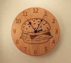 Cheeseburger laser cut clock Wood clock Wall by BunBunWoodworking