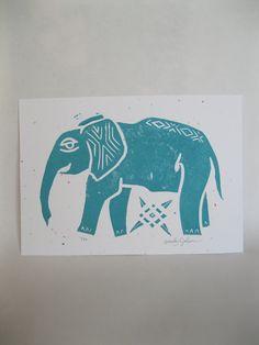 Elephant Linoleum Block Print in Turquoise. $10.00, via Etsy.