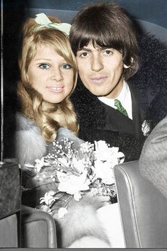 Patti Boyd married George Harrison in 1966 wearing a Mary Quant dress at Epsom registry office, after meeting him on the set of 'A Hard Day's Night'. They divorced in 1977