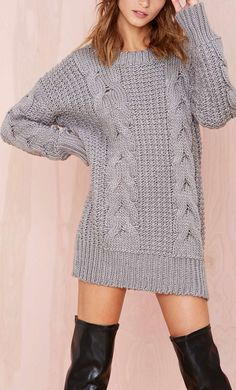 Love this relaxed chunky cable knit sweater/dress Winter Sweaters, Cable Knit Sweaters, Sweater Outfits, Cute Outfits, Sweater Dresses, Couture, Pullover Outfit, Dresses Short, Sweater Shop