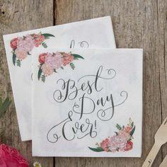 Best Day Ever Paper Napkins - Floral Wedding Napkins- Boho Wedding - Party Napkins Party Napkins, Wedding Napkins, Wedding Favours, Wedding Table, Wedding Reception, Wedding Places, Wedding Place Cards, Wedding Guest Book, Wedding Stuff