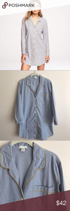 Jcrew end on end pinstripe nightshirt Jcrew end on end cotton nightshirt, blue pinstripe w/yellow piping - perfect condition never worn J. Crew Intimates & Sleepwear Pajamas