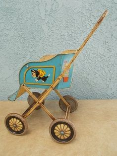 Vintage Tin Litho Doll Carriage Stroller 1950s Cartoon 50s Toy Dog Cat