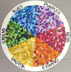 hole punch from paint chip cards, organize to create colour wheel showing many shades/tints of each colour