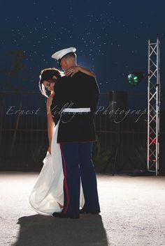 US Marine & Bride Night time Backlit Stars Beautiful Wedding in Yuma Arizona at From the Farm Photographer Ernest Villegas www.ErnestVillegas.com