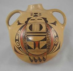 A contemporary pottery canteen is hand crafted by Hopi Indian artist Adelle Lalo Nampeyo