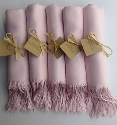 Set of 5 Baby Pink Shawls with Favor Tags Pashmina by YadisCloset, $55.00