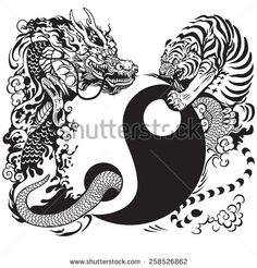 yin yang symbol with dragon and tiger , tattoo illustration