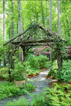 Bent wood arbor could so easily become a cabana. Bent wood arbor could so easily become a cabana. Wood Arbor, Rustic Pergola, Forest Garden, Woodland Garden, Garden Gazebo, Garden Trellis, Design Jardin, Garden Design, Rustic Gardens