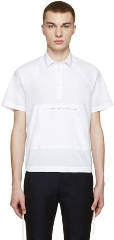 Kenzo White Poplin Zip Front Shirt