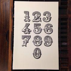 Tuscan Ornate hand carved number specimen. Letterpress linocut.