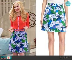 Liv's blue and green floral skirt on Liv and Maddie.  Outfit Details: https://wornontv.net/62403/ #LivandMaddie