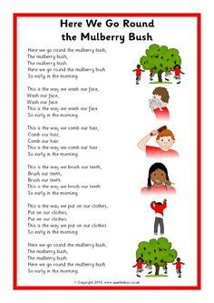 A printable sheet featuring the words to the 'Here We Go Round the Mulberry Bush' song in a simple format for use with children. Rhyming Preschool, Nursery Rhymes Preschool, Rhyming Activities, Learning Phonics, Nursery Activities, Therapy Activities, Preschool Activities, Songs For Toddlers, Rhymes For Kids