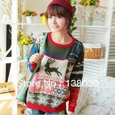 Free shipping new 2013  Korean version of the autumn -summer sweater dress,basic pullovers,wool & blends,Christmas deer animal