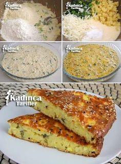 ✿ ❤ ♨ Mısır unlu Patatesli Kek Tarifi  / Malzemeler: 1 su bardağı mısır unu, 1 buçuk su bardağı un, Yarım su bardağı sıvı yağ, 1 buçuk su bardağı yoğurt, 1 paket kabartma tozu (10 gram), 1 tatlı kaşığı tuz, Yarım su bardağı kaşar rendesi veya beyaz peynir, 2 adet orta boy patates, 1 sap pırasa veya 5-6 dal taze soğan, 1 tutam maydanoz, 3 adet yumurta (1'inin sarısı üzeri için ayrılacak). Üzeri için; 1 yumurta sarısı, Susam, Çörek otu.