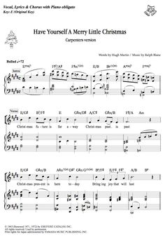 Have Yourself A Merry Little Christmas - Carpenters  music sheet links: Dojin Ongakunori http://www.dojinongaku.com/contents/goods_detail.php?goid=20003  DLmarket https://www.dlmarket.jp/products/detail.php?product_id=244111