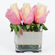 Pink Real Touch Rose Arrangement with Rose Buds Artificial Flowers in Square Glass Vase as Artificial Faux Arrangement for Home Decor