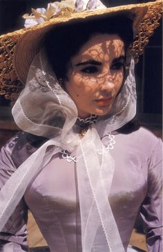 Elizabeth Taylor on the set of Raintree County (1957). Costumes: Walter Plunkett.