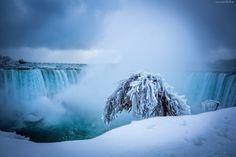 Zima, Rzeka, Wodospad, Drzewo