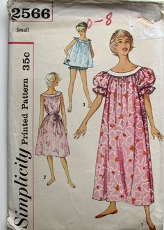 Vintage 50s Nightgown Pattern