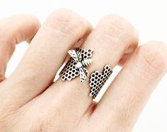 Beautiful Honeycomb and Honey Bee Hexagon Geometric Adjustable Ring