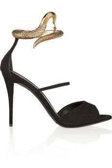Giuseppe Zanotti Coline snake-effect metal and suede sandals | THE OUTNET