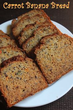 You all know my love for simple cakes and bread. This is my latest favourite. It is so simple to make and has mashed up bananas and ca. Carrot Bread Recipe Moist, Banana Carrot Muffins, Vegan Banana Bread, Carrot Cake, Zucchini Muffin Recipes, Healthy Muffin Recipes, Banana Bread Recipes, Healthy Baking, Kitchens