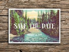 Northwest Pines Postcard Save the Date // Vintage Post Card Pine Trees River Mountain Wedding Oregon Washington Pacific Northwest Wedding Stationary, Wedding Invitations, Invites, Wedding Themes, Wedding Ideas, Trendy Wedding, Summer Wedding, Whimsical Wedding, Wedding Goals