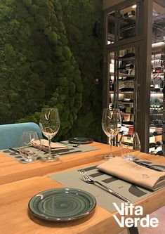 Create a relaxing atmosphere and unique ambience at your restaurant by installing a Shall we have a glass of wine? Home Wine Cellars, Moss Art, Landscape Services, Construction, Landscaping Company, Cheers, Restaurant, Create, Unique