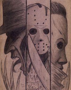 scary drawings Freddy ,Jason,and Michael on Cardboard by DougSQ on DeviantArt Creepy Drawings, Dark Art Drawings, Art Drawings Sketches, Cute Drawings, Michael Myers Drawing, Jason Drawing, Jason Voorhees Drawing, Desenhos Halloween, Arte Emo