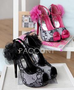 Korean Lace Floral Peep-Toe High-Heeled Sandals With Strap Cingulate