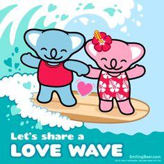 Happy Valentine's Day 2014 – Share A Love Wave Animated GIF version on blog here: http://smilingbear.com/blog/happy-valentines-day-2014-share-a-love-wave  #ValentinesDay #Love #Romance #smilingbear #smilemore #koala #koalabear #bear #smile #smiling #happy #cute #kawaii #australia #aussie #sydney #beach #manga #art #design #illustration #cartoon #characterdesign #fun #GIF #otaku #plush